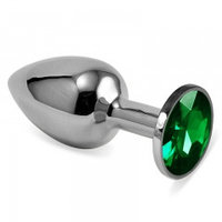 Серебряная пробка с кристаллом(зелёный)