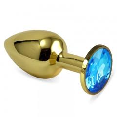 Золотая пробка с кристаллом(голубой)
