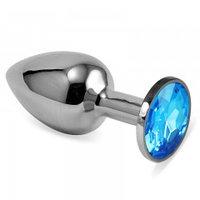 Серебряная пробка с кристаллом(голубой)