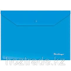 Папка конверт на кнопке А4 синяя Berlingo