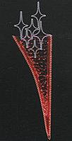 Вертикальное световое панно на опоры Рожок со звездами красный 200*65 см