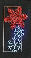 Вертикальное световое панно на опоры Разноцветные снежинки 150*75 см