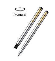 Ручка-роллер Parker Vector Т03, цвет: Steel, стержень: Mblue, в фирменном футляре