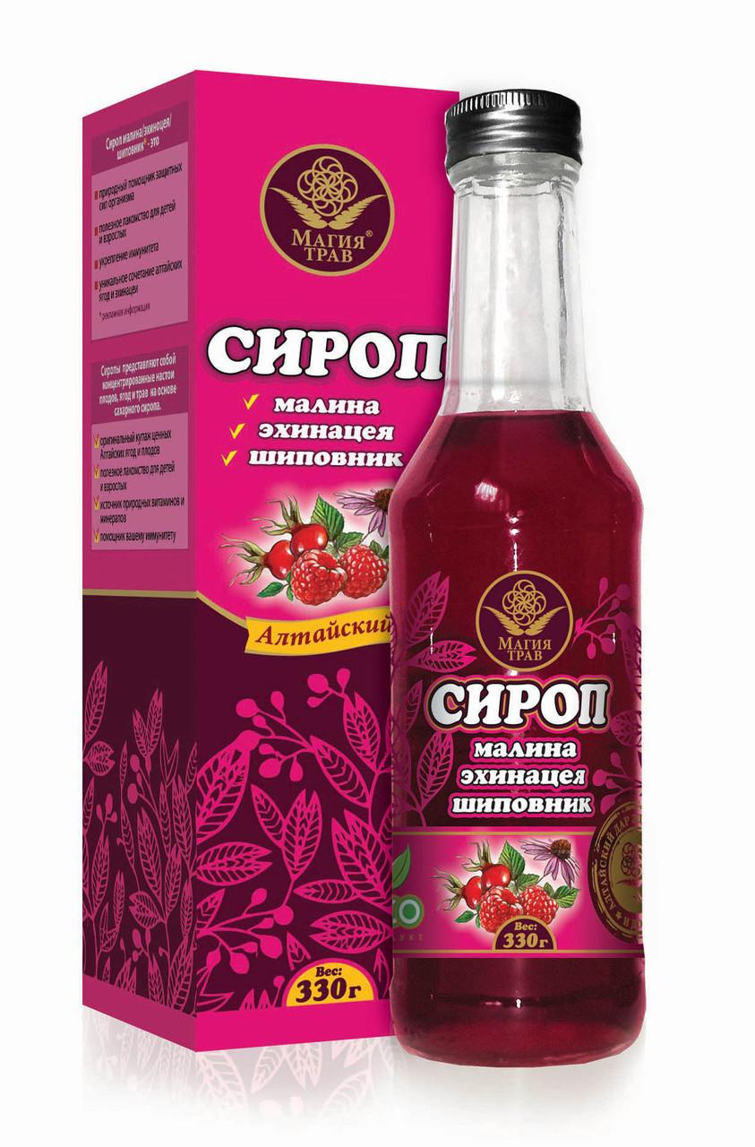 Сироп Малина, Эхинацея, Шиповник, стеклянная бутылка, 330гр