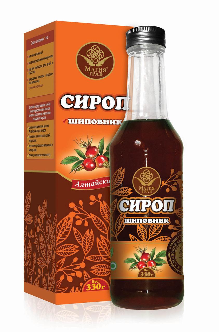 Сироп Шиповник, стеклянная бутылка, 330гр