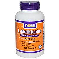 Now Foods, L-метионин, 500 мг, 100 капсул.