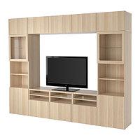 Шкаф для ТВ БЕСТО комбин/стеклян дверцы под беленый дуб ИКЕА, IKEA, фото 1