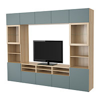 Шкаф для ТВ БЕСТО комбин/стеклян дверцы серо-бирюзовый ИКЕА, IKEA