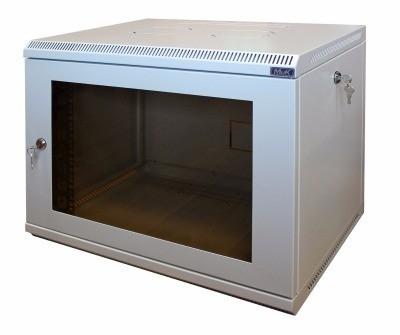 Шкаф настенный МиК 6U, 600*450*360, KEYS, серый, дверь-стекло
