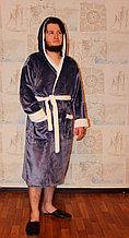 Домашнний мужской халат  с капюшоном, вельсофт