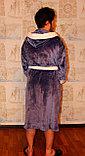 Домашнний мужской халат  с капюшоном, вельсофт, фото 3