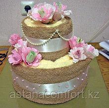 Подарок для женщины. Торт из полотенец (4 шт)