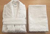 Подарки для женщин. Махровый женский набор. Халат и 2 полотенца с кружевам. Турция. , фото 2