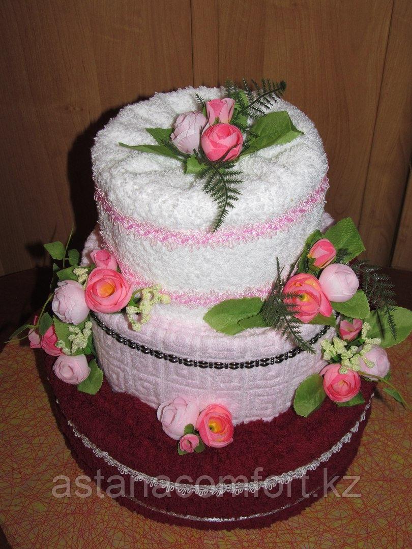 Подарок для женщины. Торт из полотенец (3шт)