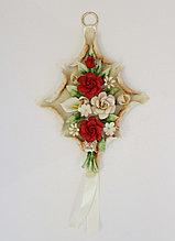 Декоративное панно из фарфора Розы. Ручная работа. Италия