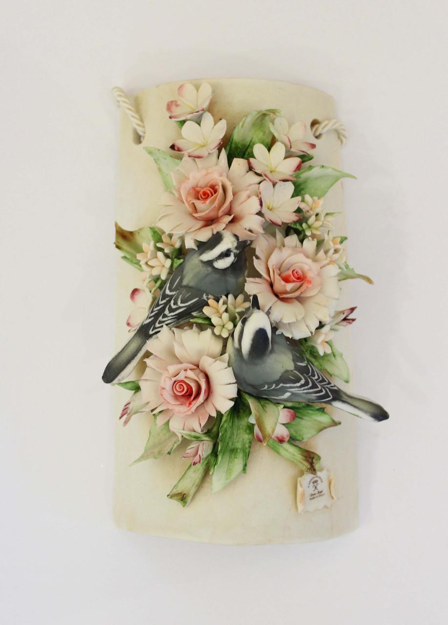 Декоративное панно Птицы в цветах. Фарфор. Ручная работа. Италия