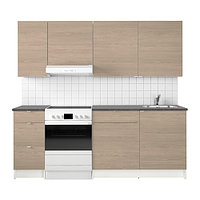 Кухня КНОКСХУЛЬТ под дерево серый, 220x61x220 см ИКЕА, IKEA, фото 1