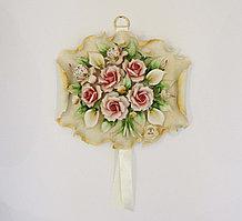 Панно из фарфора с композицией из цветов. Ручная работа. Италия