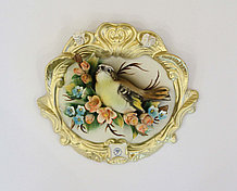 Декоративное панно Птица в цветах. Фарфор. Ручная работа. Италия