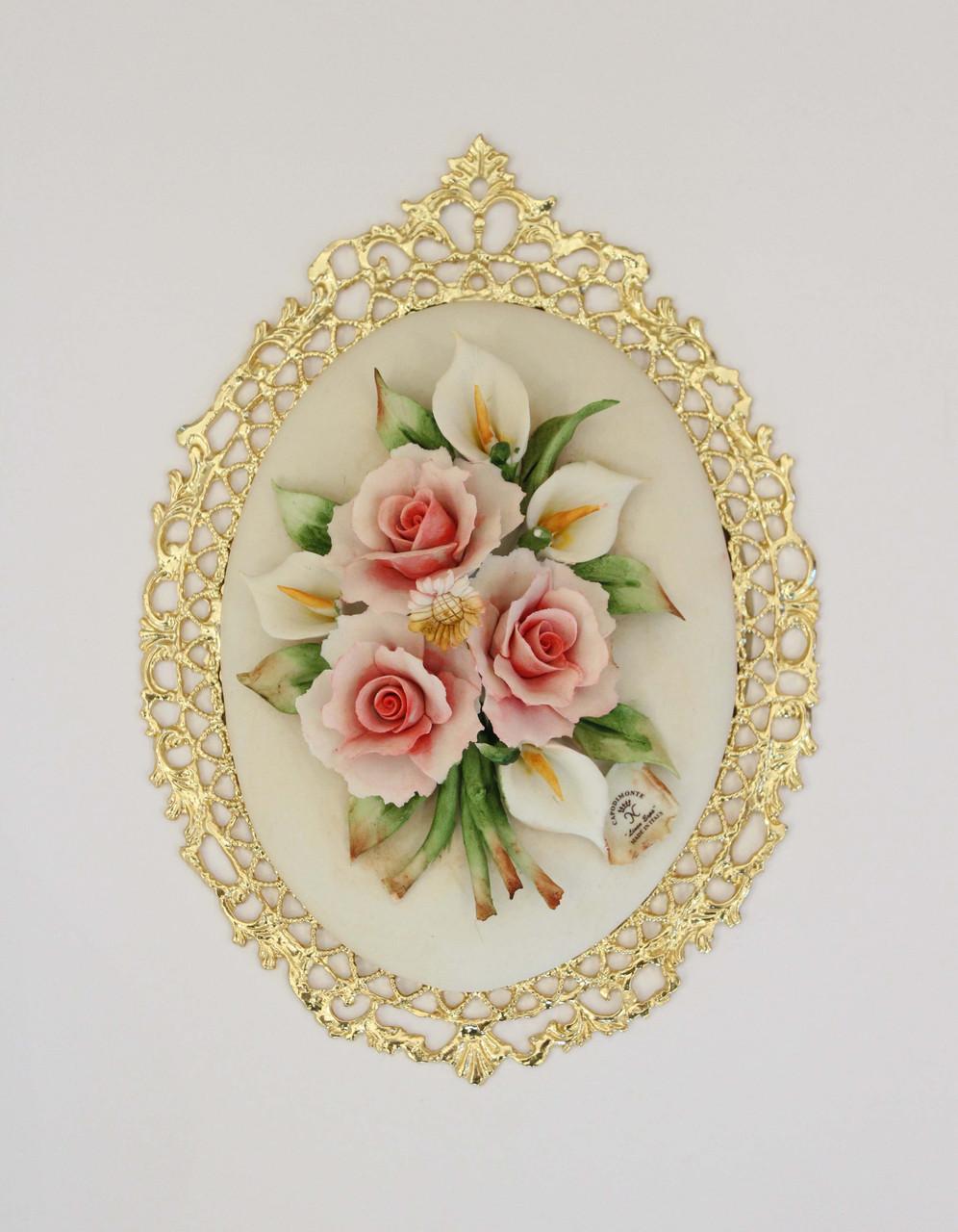 Декоративное панно с цветами. Фарфор. Ручная работа. Италия
