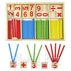 Игрушка Деревянные цветные счетные палочки