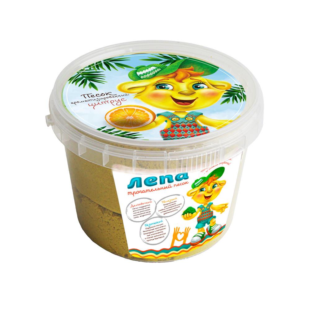 ЛЕПА 00-00000135 Трогательный кинетический песок  Арома Цитрус (желтый песок с ароматом цитруса) 0,5 кг