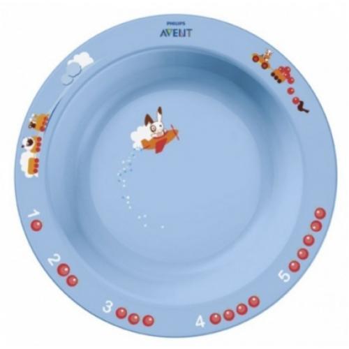 Тарелка глубокая Avent 450 мл 12м+ голубой или розововый