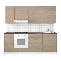 Кухня КНОКСХУЛЬТ под дерево серый 220x61x220 см ИКЕА, IKEA, фото 1