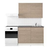Кухня КНОКСХУЛЬТ под дерево серый, 120x61x220 см ИКЕА, IKEA, фото 1