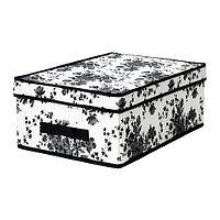 Коробка с крышкой ГАРНИТУР черный/белый цветок ИКЕА, IKEA