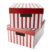 Коробка с крышкой ПИНГЛА  2-шт.полоска белый/красный, фото 1