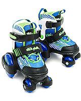 Раздвижные роликовые коньки-квады, размер 26-29, синие