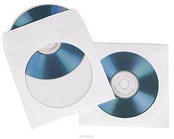 Конверт для CD-дисков (124*127)  80 гр/м2, белый, с окном - 108 мм