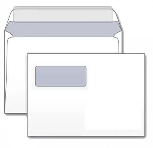 Конверт С4 (229*324) силикон, 90гр/м2, белый, тангир, с окном