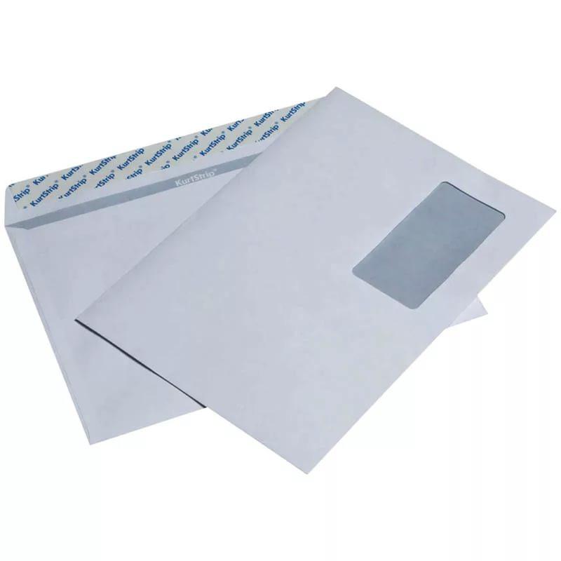 Конверт С5 (162*229) силикон, 80гр/м2, белый, с окном