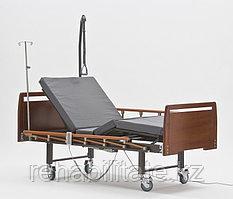 Кровать для лежачих больных с электроприводом, серия Домашний уход DB-7 WOOD (Дельта-7) светло коричневые, полукруглая