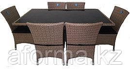 """Ротанговая мебель """"Стол 150*90 + 6 стульев"""""""