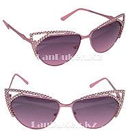 Солнцезащитные очки со стразами cat eye UV400 (розовые)
