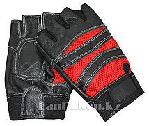 Перчатки для фитнеса и тренажеров, турника мужские красные (без пальцев)
