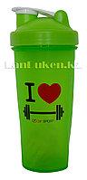 Шейкер 600 ml с венчиком зеленый для приготовления коктейлей (для спортивного питания)