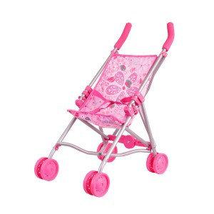 Детская Коляска для кукол  трость  мятная розовая