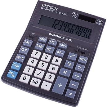 Калькулятор настольный Correct D 12 разрядов, двойное питание, 155*205*28 мм, черный