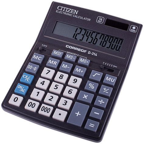 Калькулятор настольный Correct D 14 разрядов, двойное питание, 155*205*28 мм, черный, фото 2