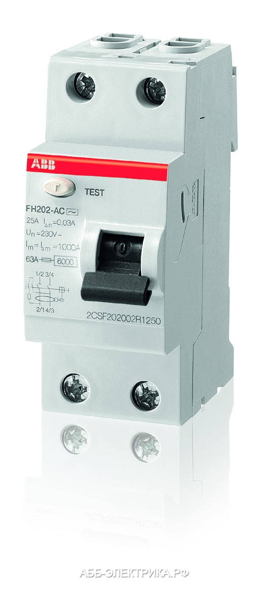 2CSF202004R1250 Выключатель дифференциального тока УЗО ABB 2 полюса FH202 AC-25А, 30 мА