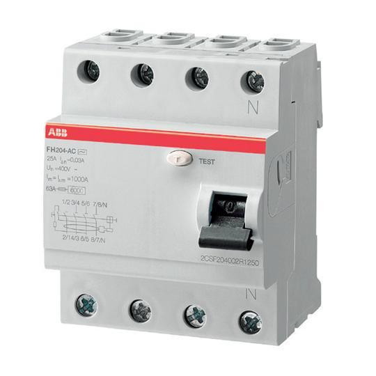 2CSF204004R1630 Выключатель дифференциального тока УЗО ABB 4 полюса FH204 AC 63 А, 30 мА