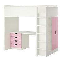 Кровать-чердак СТУВА 4 ящика/2 дверцы розовый ИКЕА, IKEA