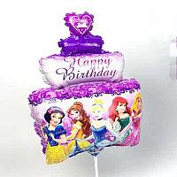 Фольгированный шар тортик с принцессами в Павлодаре