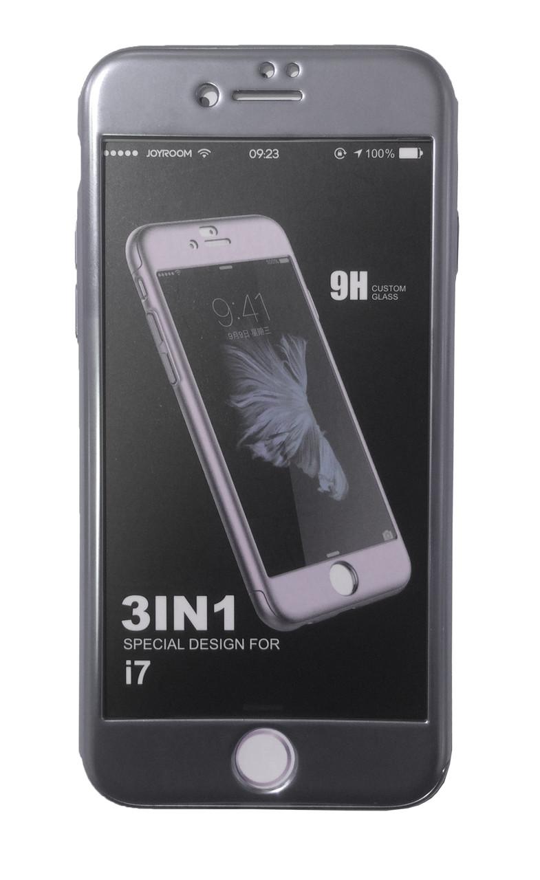 Пластиковый чехол 360 градусов JOYROOM с кольцом для iPhone 7 (серый)