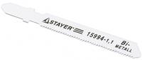 """Пилки STAYER """"PROFI"""" для эл/лобзика, HSS, по мягкому металлу (3-15мм), EU-хвост., шаг 3мм, 75мм, 2шт"""
