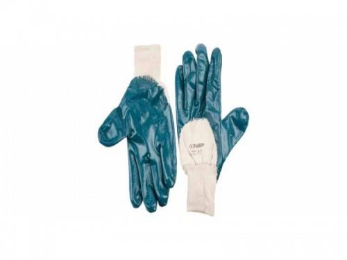 """Перчатки ЗУБР """"МАСТЕР"""" рабочие с манжетой, с нитриловым покрытием ладони, размер L (9)"""